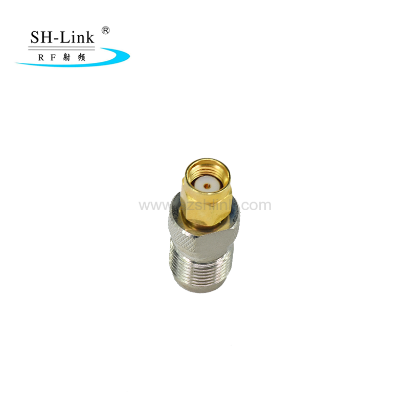 Brass nickel plated RP TNC female jack with male pin to SMA male adaptor