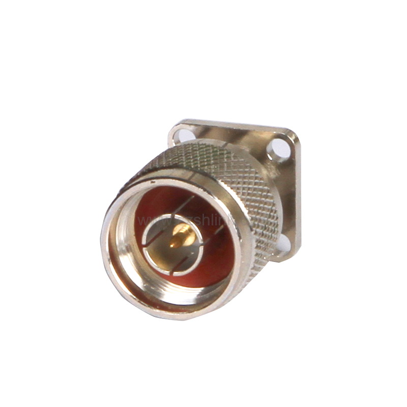 nickel plated N male flange mount with micro strip connector rf connector