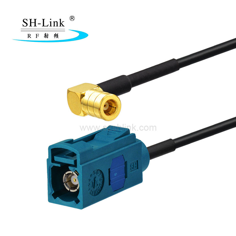 Fakra Z type female to Right angle SMB female cable assembly