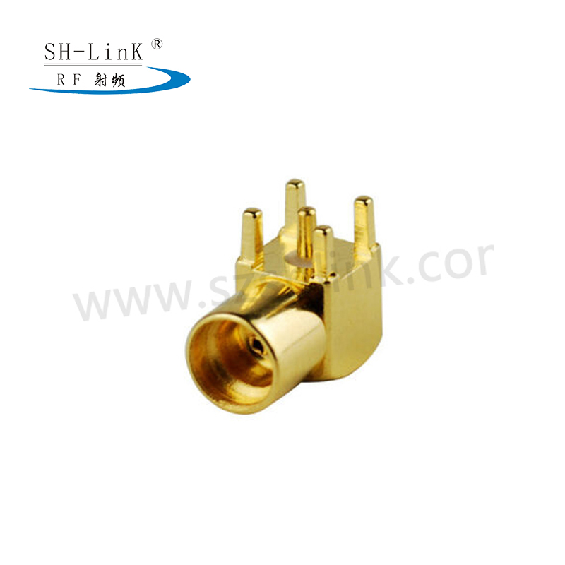 Radio frequency coaxial connector MCX female head bending four corner seat manufacturers direct  (MCX-KWE)